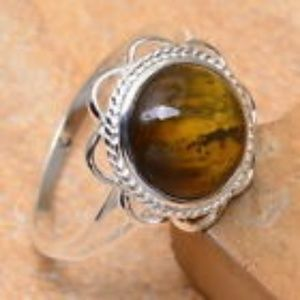 Jewelry - SOLID 925 SS NATURAL TIGER'S EYE GEMSTONE RING